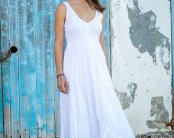 White Linen Dress/Long Dress/Pure White Linen Dress/Maxi/Wedding Dress/Beach Wedding Dress
