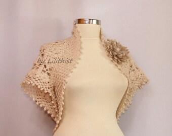 Crochet Lace Bolero, Bolero Jacket, Lace Shrug, Crochet Shrug, Bridal Shrug Bolero, Glitter Champagne Wedding Lace Shrug, Bridal Cover Up