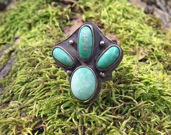 Boho Variscite Ring, Handcrafted Sterling Ring with Pale Blue/Green Nevada Variscite, Size 7