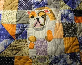 English Bulldog Lap Quilt - NEW 2017 one of a kind !