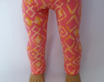 "18""American Girl Doll Leggings, Knit Spring Orange and Yellow"
