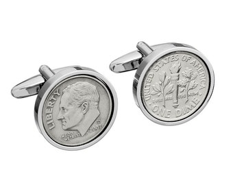 Tin Year Wedding Gift for Men - 2007 Coin Cufflinks - 10th anniversary gift for man- 100% satisfaction guarantee