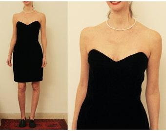 Black Evening Dress Black Velvet Strapless Evening Dress L Formal Dress Black Mini Dress 14 Bustier Black Mini Dress 14 Evening Dress Large