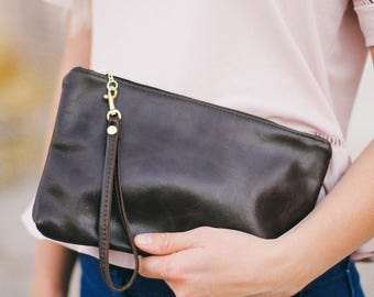 Espresso brown leather clutch- womens clutch purse- genuine leather- handmade- fully waterproof lined