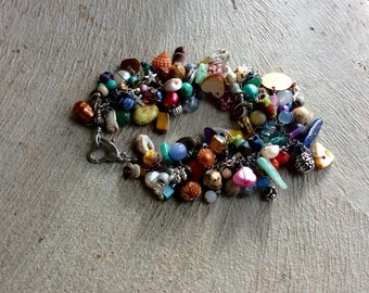 confetti bracelet. handmade whimsical beaded wire wrapped multicolored chain bracelet