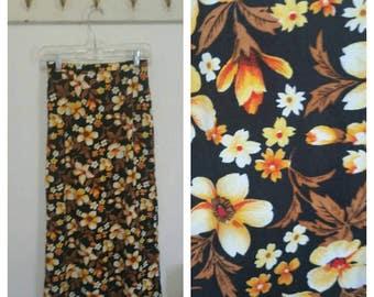 "Vintage Maxi Skirt, Hawaiian Print, Black/Orange, Size 24"" Waist, #64522"