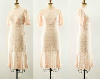 Vintage 1930's Pale Pink Lace Dress