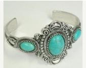 Turquoise Cuff Bracelet - Southwest - Cowgirl Cuff - Statement Cuff - Cabochon Focal - Tribal - Boho - Chunky - Wide Gemstone Cuff