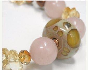 Sale| Citrine Necklace, Citrine Nugget, Citrine Gemstone Jewelry, Pink Peruvian Opal, Chunky, Lampwork Focal, November Birthstone, Natural J