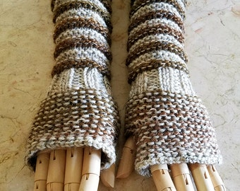 Wildling Knits Pair of Long Hand Knit Arm Warmers in Ombre Brown and Natural Ready to Ship