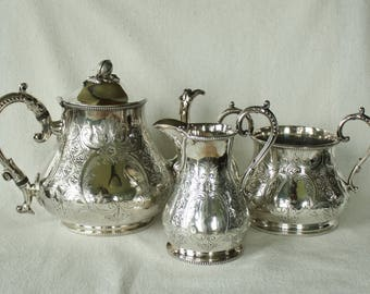 Vintage Sheffield Silverplate Tea Set  Teapot, Sugar Bowl, and Creamer Silver Plate