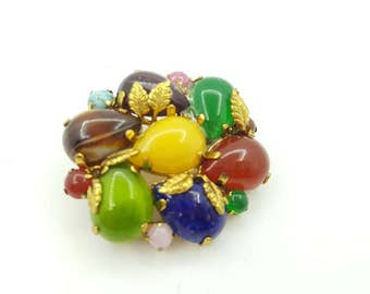 Fruit Salad Colorful Art Glass Brooch Art Deco