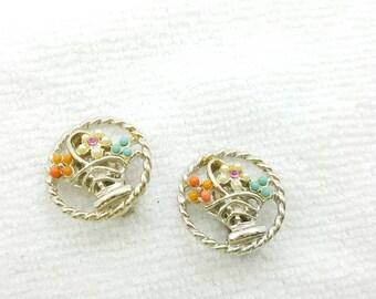 ART signed Flower Baskets Clip  Earrings Mid Century Shabby Chic
