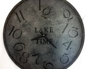 22 Inch LAKE TIME CLOCK in Bold Shades of Gray Highlighted with Charcoal with Jumbled Numbers
