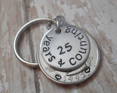 25 Years And Counting Wedding Anniversary Key Chain with Heart Stamped Around 1992 Date on Quarter / Gift for Him or Her