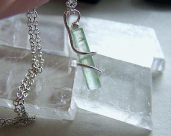Pale Green Tourmaline Gemstone Crystal Necklace
