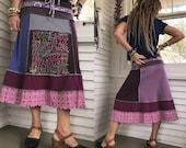 Eco short boho Skirt, size  M, patchwork skirt, eco clothing,boho clothing, peace skirt, bold skirt,hippy skirt, festival skirt, Zasra