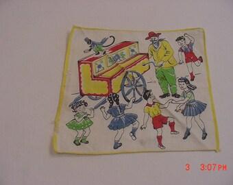 Vintage Organ Grinder & Money Theme Child's Handkerchief 17 - 246