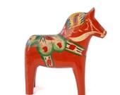 """RESERVED for Jan -- Vintage 4"""" Swedish Äkta Dala Wooden Horse, Made in Sweden, Scandinavian Christmas"""