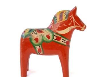 "Vintage 4"" Swedish Äkta Dala Wooden Horse, Made in Sweden, Scandinavian Christmas"