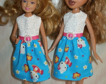 """Handmade 9"""" little sister fashion doll clothes -blue and white kitty dress"""