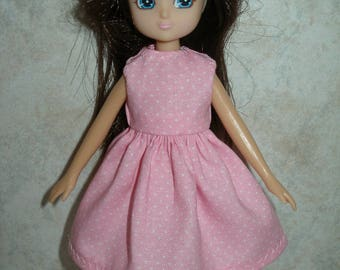 """Handmade 7"""" doll clothes for Lottie - pink and white pin dot dress"""