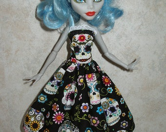 Handmade Monster or fairy tale doll clothes  -  black and white sugar skull dress