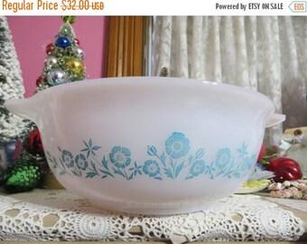 ON SALE Sears Aqua Turquoise Blue Floral Cinderella 4 qt Bowl-Mint-Glasbake-Harmony House-Mid Century Wedding Gift