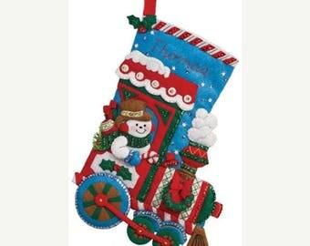 "Store Closing SALE Bucilla All Aboard ~ 16"" Felt Christmas Stocking Kit #86435 Frosty Snowman Train"