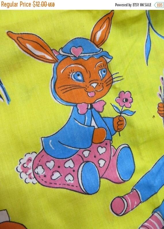 ON SALE Vintage Retro 1970's Children Fabric-Animals