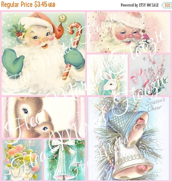 ON SALE Mid Century Christmas Tags-Set #1-Tags-Pink-Shabby-Chic-Retro-Christmas Gift Tags