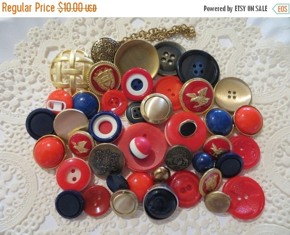 ON SALE Vintage Red White and Blue Buttons-Lot-Craft-Sewing-Patriotic-Crest-Military