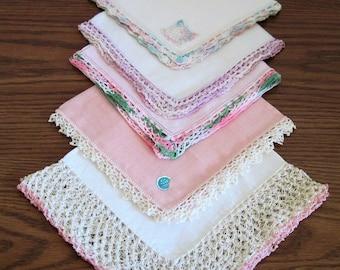 5 Vintage Crochet Edged Linen Ladies Handkerchiefs Hankies Shades Of Variegated Pink With White, Purple, Green, Lot 4