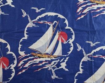 Vintage Novelty Print Fabric / 1930s Fabric 1940s Fabric / Sailboat Fabric Puritan Print Chintz Fabric Dress Fabric Blue Sail Boat Nautical