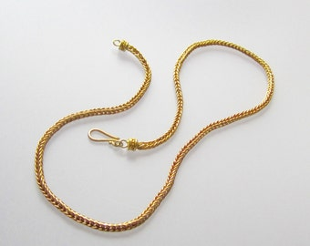 22k Solid Gold Handcrafted Double Loop Chain Necklace Ancient Rome Greece