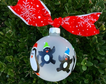 Personalized Family Ornament, Penguin Christmas Ornament, Mom, Dad and kids, Grand parent Ornament, Hand Painted Bauble