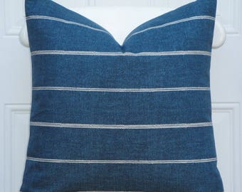 DOUBLE SIDED - Decorative Pillow Cover - Stripe In Blue Denim - Sofa Pillow - Chair Pillow - Pillow Case - Living Room Accent