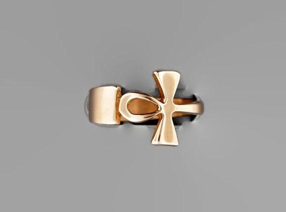 Antique Bronze Ankh Ring