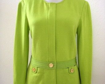 Vintage Lime Green Knit Sweater Jacket by St. John - Green Cardigan Sweater - 90s Designer Sweater Jacket - Size Small