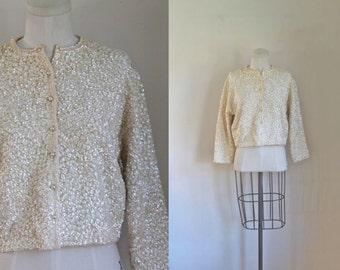 vintage 1950s sequin cardigan - SNOW STORM sparkle sweater / M