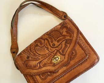 vintage 1970s tooled leather handbag -  FLOR mexican leather purse
