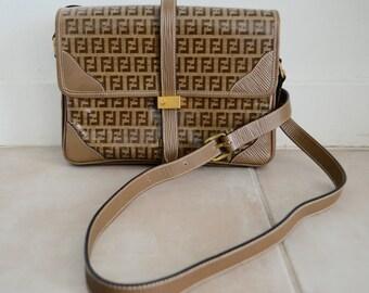 Vintage Authentic Fendi SAS Flap patent leather FF monogram cross-body handbag bag made in Italy