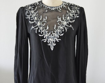 Vintage ARGENTI Black Sheer bodice sequined long sleeve top blouse S