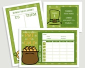 St. Patricks Day Bunco Score Card Set - Pot of Gold - Includes - Us Them Tally Sheet and Table Cards - Instant Download -  #00113STPAT-ID