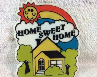 "Home Sweet Home 1984 Bromac Plastic Refridgerator Magnet Fridge Magnet Large 4"""