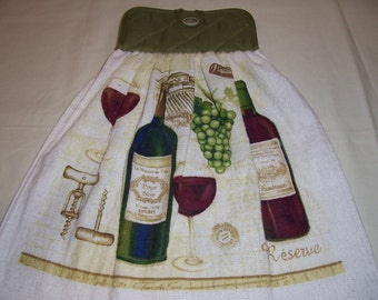 Oven Door Hanging Towel -Wine and Grapes-Kitchen Towel ,Potholder-Ready To Ship