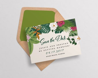 Modern Tropical Floral Wedding Save the Date,Tropical Flowers Wedding Invitation,Tropical Destination Wedding Invitation Set, Hawaii Wedding