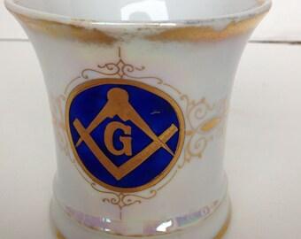 Antique Masons Shaving Mug Luster Glaze with Handle Vivid Graphics