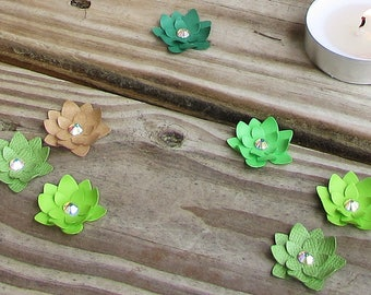 25-pack Paper Succulent Dimensional Confetti (AB Crystal Center)
