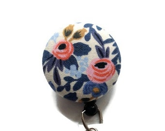 Badge Reel Retractable Badge Holder ID Badge Holder Retractable Lanyard Nurses Name Badge Holder w/Swivel Clip Floral Off-White Pinks Blue